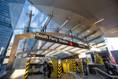 subway entrance: South Ferry subway entrance in Manhattan