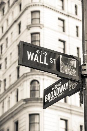 main market: Wall street sign in New York City