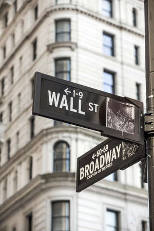main market: Wall street sign in New York City