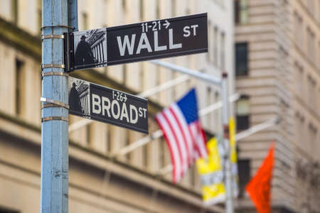 new york stock exchange: Wall street sign in New York City
