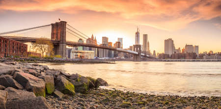 Beautiful shot of Brooklyn Bridge at sunset photo