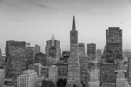transamerica: Beautiful view of  business center in downtown San Francisco at sunset.
