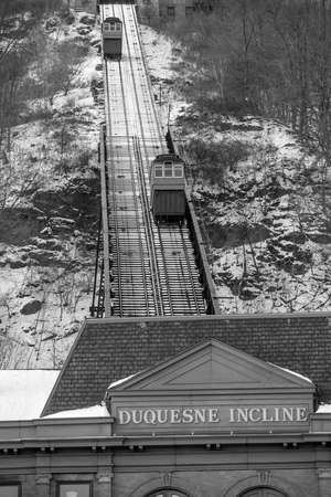 incline: Public Duquesne Incline in Pittsburgh Stock Photo