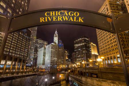chicago: Chicago Riverwalk sign at twilight