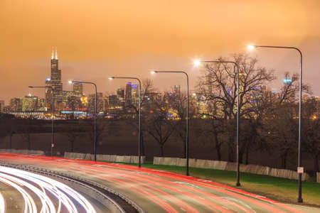 lake shore drive: Downtown Chicago Skyline and a highway Stock Photo