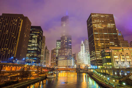 midwest usa: Chicago downtown and Chicago River at night.