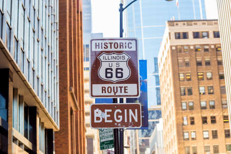 chicago: Route 66 sign, the beginning of historic Route 66, leading through Chicago, Illinois. Stock Photo