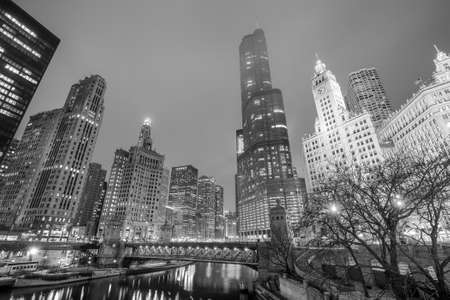 chicago city: Chicago downtown and Chicago River at night.
