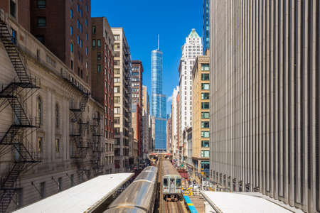 chicago city: Trains in downtown Chicago IL Stock Photo