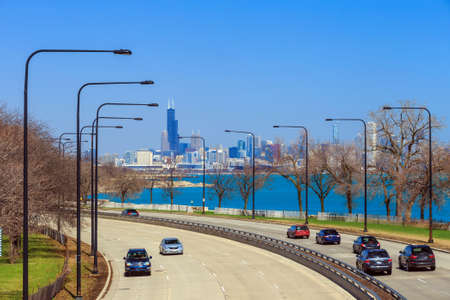 midwest usa: Downtown Chicago Skyline and a highway Stock Photo