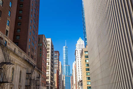 midwest usa: Chicago downtown with blue sky