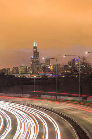hancock building: Downtown Chicago Skyline and a highway Stock Photo