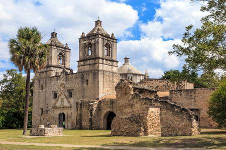 mision: Misión Concepción, San Antonio, Texas, EE.UU. Foto de archivo