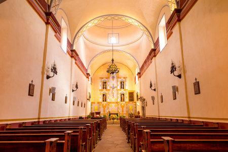 jose: Interior of Mission San Jose is a historic Catholic mission in San Antonio, Texas, USA Editorial