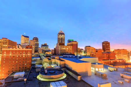 highrises: Top view of downtown Indianapolis skyline at twilight Stock Photo