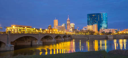 city park skyline: Indianapolis skyline and the White River at twilight