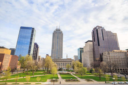 indianapolis: Downtown Indianapolis skyline with blue sky Stock Photo