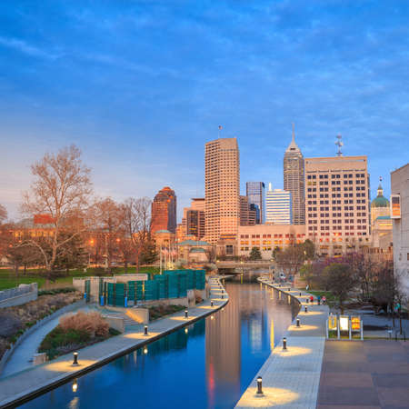 highrises: Downtown Indianapolis skyline at twilight Stock Photo