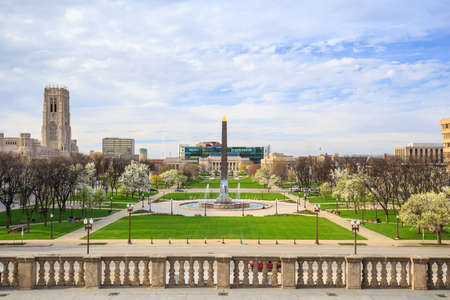 the memorial: Indiana  Veterans Memorial Plaza in downtown Indianapolis