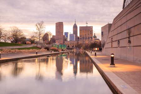 indianapolis: Downtown Indianapolis skyline at twilight Stock Photo