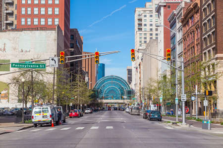 planned: INDIANAPOLIS, INDIANA, April 14 : Downtown Indianapolis on April 14, 2015. Indianapolis was founded in 1821 as a planned city for the new seat of Indianas state government