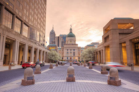 capital building: The Indiana Statehouse at twilight