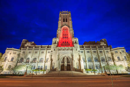 rite: Scottish Rite Cathedral in downtown Indianapolis at sunset