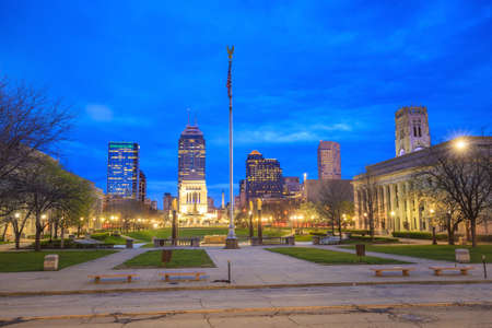highrises: Downtown Indianapolis skyline at twilight Stock Photo