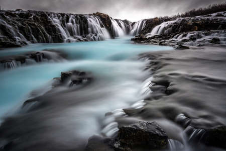 Beautiful Bruarfoss waterfall in Iceland