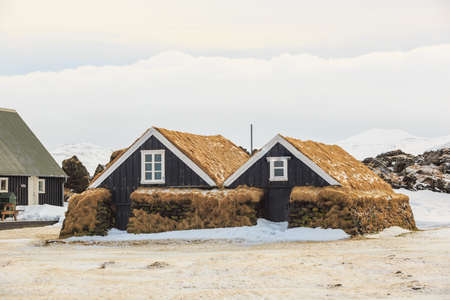 turf bog: Iceland typical turf houses Editorial