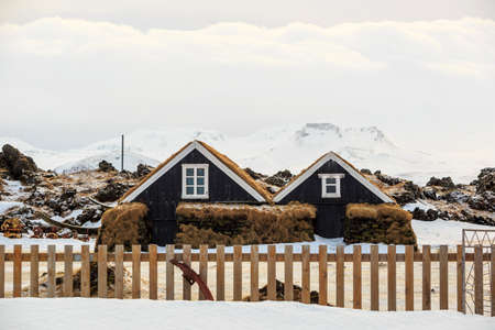 typical: Iceland typical turf houses Stock Photo