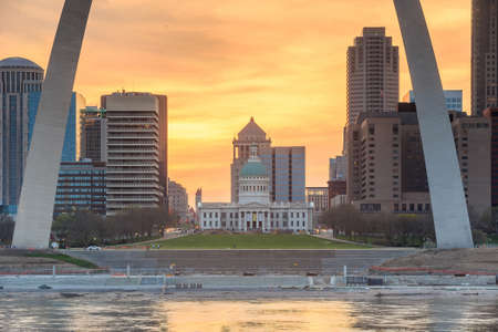 midwest usa: City of St. Louis skyline at twilight.