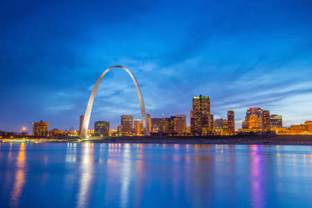 St. Louis downtown  at twilight.