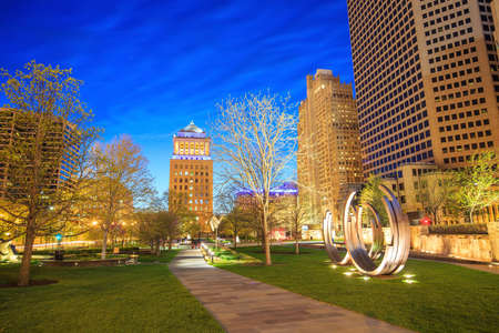 st louis: Public  Citygarden in downtown st. louis at twilight Stock Photo