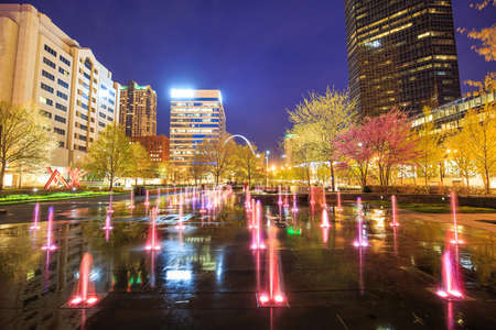 st louis: Public  Citygarden in downtown st. louis at twilight Editorial
