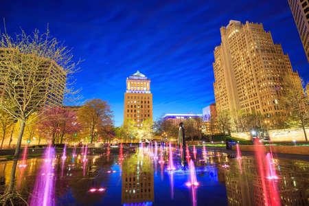 st louis: Public  Citygarden in downtown st. louis at twilight Stock Photo