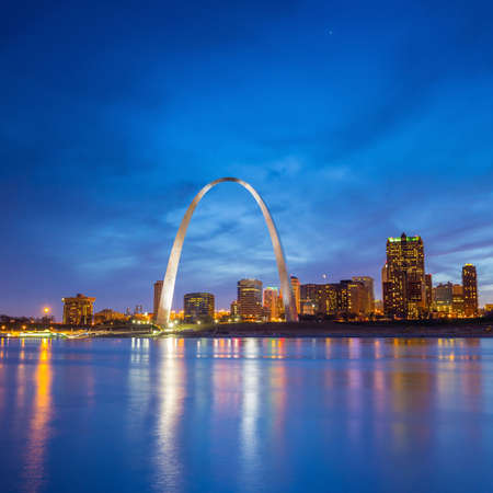 midwest usa: St. Louis downtown at twilight.