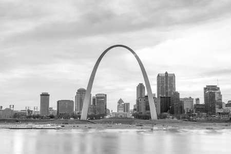 midwest usa: City of St. Louis skyline. Image of St. Louis downtown  at twilight.