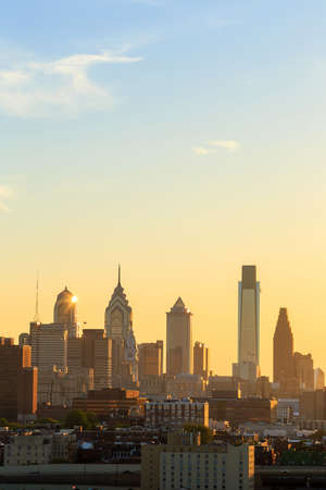 Panorama of Philadelphia skyline at sunset