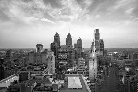 city scene: Skyline of downtown Philadelphia at sunset