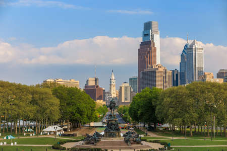Beautiful Philadelphia skyline with blue sky