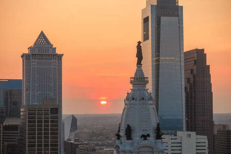 Skyline of downtown Philadelphia at sunset Stock Photo - 44408797