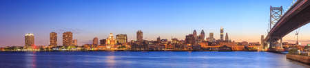 Panorama of Philadelphia skyline, Ben Franklin Bridge and Penns Landing sunset Stock Photo