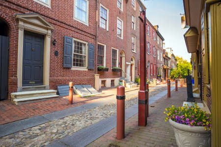 oldest: The historic Old City in Philadelphia, Pennsylvania. Elfreths Alley, referred to as the nations oldest residential street, dating to 1702. Editorial