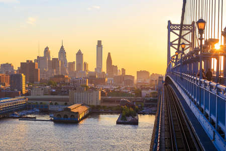 franklin: Panorama of Philadelphia skyline, Ben Franklin Bridge and Penns Landing sunset Stock Photo
