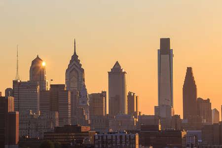city lights: Panorama of Philadelphia skyline at sunset