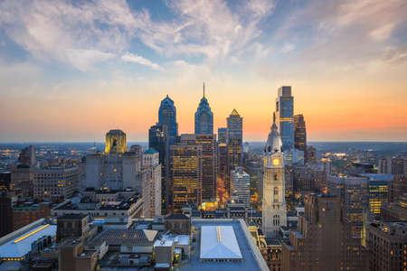 skyline city: Skyline of downtown Philadelphia at sunset