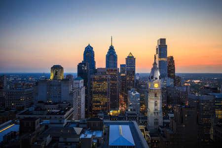 high rises: Skyline of downtown Philadelphia at sunset