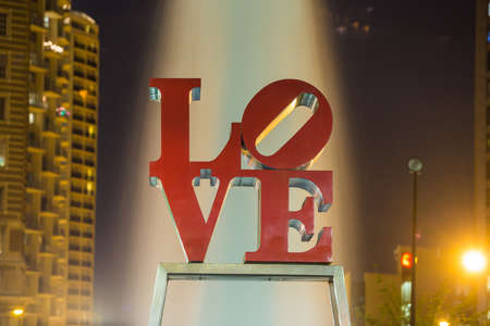 brotherly love: PHILADELPHIA - MAY 6: The popular Love Park named after the Love statue in Philadelphia, USA, on May 6, 2015. It was first placed in the plaza in 1976 Editorial