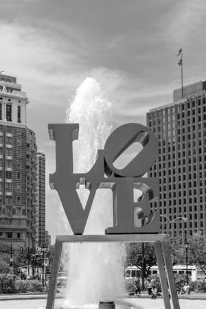 brotherly love: PHILADELPHIA - MAY 8: The popular Love Park named after the Love statue in Philadelphia, USA, on May 8, 2015. It was first placed in the plaza in 1976 Editorial